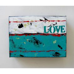 SALE, Turquoise Word Painting, Original Art on Canvas, Home and... ($36) ❤ liked on Polyvore featuring home, home decor, wall art, stencil painting, turquoise painting, turquoise home accessories, stencil wall art and calligraphy painting