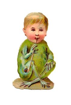 Free Antique Odd Graphic: Victorian Die Cut of Frog Boy Creature Smoking Pipe