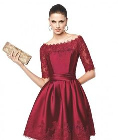 Dress with #lace #sleeves and #flared #skirt - Fashion9shop.com