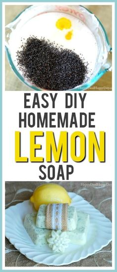 Easy Melt and Pour Soap Recipes: Lemon Poppy Seed Soap Recipe - Easy Melt and Pour Soap Recipes: Easy DIY Homemade Lemon Soap – this one also has poppy seeds in - Homemade Soap Recipes, Homemade Gifts, Bath Recipes, Melt And Pour, Lemon Soap, Soap Labels, Cool Gifts For Women, Be Natural, Natural Soaps