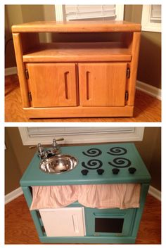 Wonderful diy play kitchen from tv cabinets pinterest diy play diy play kitchen made from an old nightstand solutioingenieria Image collections