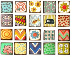 Art Block Four Set 5x5 wood FREE SHIPPING Mix and by redtilestudio, $108.00