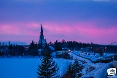 Pink & blue moment in the city of Kemijärvi in Lapland Finland Lapland Finland, Winter Scenery, I School, Pink Blue, New York Skyline, Travel Destinations, In This Moment, Spaces, History