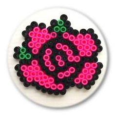 Round perler/hama rose - ronde perler/hama roos