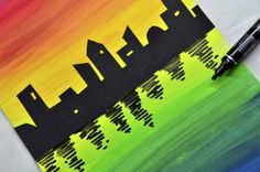 On a double chromatic gradation painted with acrylic paint, was pasted the skyline of a city cut out from a black cardboard. The color gradation was painted starting from a central yellow stripe, with Classroom Art Projects, School Art Projects, Art Classroom, High School Art, Middle School Art, Third Grade Art, Second Grade, Ecole Art, Art Lessons Elementary