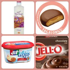 Tagalongs Girl Scout Cookie Pudding Shots 1 small pkg. Chocolate instant pudding ¾ Cup Milk 3/4 Cup peanut butter vodka 1/4 Cup any brand whipped peanut butter. 8oz tub Cool Whip Directions 1. Whisk together the milk, peanut butter and instant pudding in a bowl until combined. 2 Add vodka and whisk. 3. Add cool whip a little at a time with whisk. 3 Spoon the pudding mixture into shot glasses, disposable party shot cups or 1 or 2 ounce cups with lids. Place in freezer for at least 2 hours —