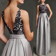 Elegante-una-línea-de-Scoop-Neck-Satin-vestido-de-partido-de-plata-V-volver-encaje-negro.jpg (784×790)