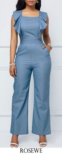 Pocket Ruffle Trim Criss Cross Back Jumpsuit. Jumper Outfit Jumpsuits, Casual Jumpsuit, Fashion Jumpsuits, Trendy Dresses, Stylish Outfits, Cool Outfits, Fashion Outfits, Womens Fashion, Prom Dresses