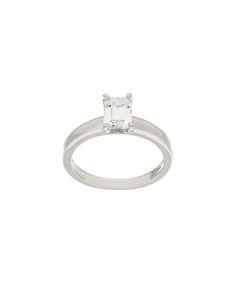 Diamonique® & Sterling Silver Emerald-Cut Solitaire Ring