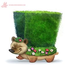Daily Paint #1162. Hedge-hog by Cryptid-Creations.deviantart.com on @DeviantArt