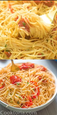 Easy Angel Hair Pasta Recipe is part of pizza - This Angel Hair Pasta is made with cherry tomatoes, garlic, and olive oil You won't believe how simple and TASTY this recipe is! Angel Hair Pasta Recipes, Easy Pasta Recipes, Spaghetti Recipes, Healthy Dinner Recipes, Easy Meals, Cooking Recipes, Pasta Recipes No Tomato, Pasta Recipes No Sauce, Angel Hair Chicken Pasta