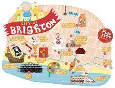 Linzie Hunter, Hand Lettering and Digital Illustration: Brighton Map Brighton Map, Brighton And Hove, Brighton England, Brighton Lanes, England Map, Design Ios, Map Design, Graphic Design, Graffiti Artwork