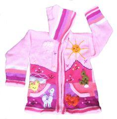Mädchen rosa mehrfarbige Kinder Kapuzen Strickjacke handgestrickt und handbestickt
