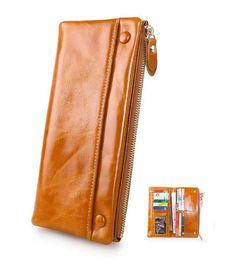 Women Genuine Waxy Leather Long Wallet Hasp Bifold Purse Retro Clutch Bag