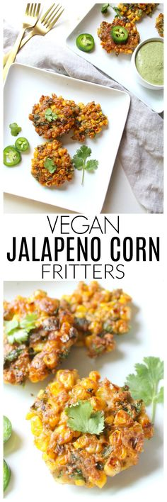 TheseVegan Jalapeño Corn Fritters are crispy and packed full of flavor. Perfect as an appetizer, snack or serve over a salad for a full meal   ThisSavoryVegan.com