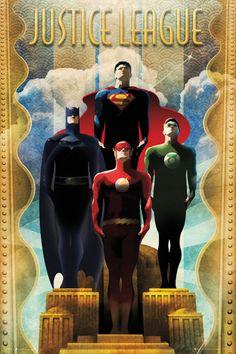 DC Comics Justice League Team Art Deco - Official Poster. Official Merchandise. Size: 61cm x 91.5cm. FREE SHIPPING