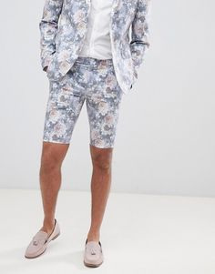75592775e3 boohooMAN Skinny Fit Suit Shorts With Floral Print In Multi. Asos MenMen ...