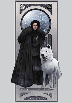 Jon Snow & Ghost - Game of Thrones - Lucas Werneck Game Of Thrones Comic, Dessin Game Of Thrones, Game Of Thrones Westeros, Game Of Thrones Prequel, Game Of Thrones Poster, Got Game Of Thrones, Got White Walkers, Jon Snow, Art Nouveau Mucha