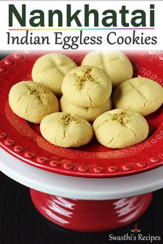 Nankhatai recipe - Learn to make the best eggless indian cookies that are light, crunchy and delicious with step by step pictures. Indian Dessert Recipes, Indian Snacks, Sweets Recipes, Baking Recipes, Snack Recipes, Indian Sweets, Indian Recipes, Recipes Dinner, Healthy Recipes