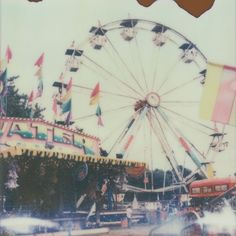 Ferris wheel carnival photograph vintage Polaroid print in summer pastels