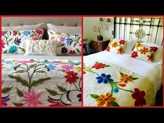 Top Class Hand Embroidered Bedsheets Designs // Beautiful Hand Embroidery Pattern For Bedsheets Flower Embroidery Designs, Hand Embroidery Patterns, Handmade Bed Sheets, Bed Cover Design, Crewel Embroidery, Embroidery Dress, Embroidered Bedding, Bed Sheet Sets, Bed Styling