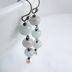 Aquamarine Pearl Beaded Earrings, Sterling Silver, Wire wrapped, Antiqued Finish, March Birthstone.