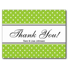 Thank you postcards  | apple green polkadots