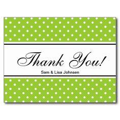 Thank you postcards    apple green polkadots