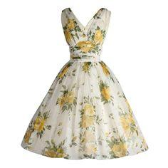 1950's White Chiffon Yellow Roses Cocktail Dress