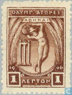 Details of Greece stamp of Olympics 1906 issue, brown, Apollo throwing discus design, wmk crown&ET (id Old Greek, Old Stamps, Summer Dream, Stamp Collecting, My Stamp, Olympic Games, Vintage Ads, Postage Stamps, Athens