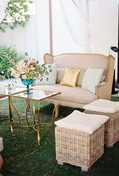 A classic lounge area with couches and bench seating   Brides.com