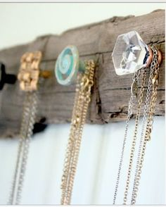 Vintage knobs+wood=Perfect for necklaces