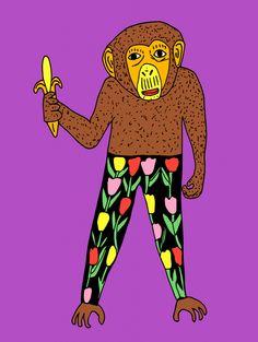 Tulips and banana - Anette Moi Tulips, Monkey, Illustrator, Banana, Graphic Design, Fictional Characters, Art, Kunst, Art Background