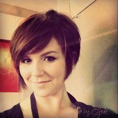Cute-Short-Brunette-Bob-Haircut.  This is probably what I am going to get but with a longer piece on the side with bangs. LOVE IT!