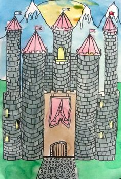 Deep Space Sparkle – How to draw a castle art project Teach your Kinder students about line, shape, watercolor and fairy tales with this watercolor castle lesson. Class Art Projects, Drawing Projects, Middle School Art, Art School, Middle Ages, Deep Space Sparkle, 4th Grade Art, Fourth Grade, Creation Art