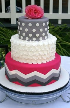 Pink and grey chevron cake