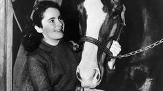 Elizabeth Taylor feeds a horse in National Velvet, 1944