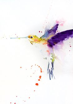Contemporary print of my original watercolour painting HUMMINGBIRD  Printed using epson Chroma K3 pigments on archival 315 gsm paper.