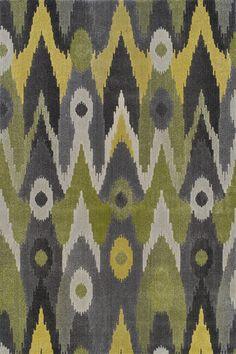 Grand Tour Green & Grey Ikat Area Rug