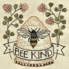 Embroidery Sampler, Hand Embroidery Patterns, Cross Stitch Embroidery, Embroidery Designs, Garden Embroidery, Hand Embroidery Projects, Bee Art, Bees Knees, Wool Applique