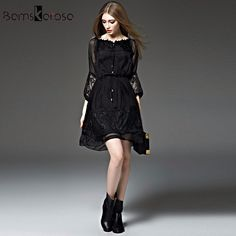 b90ad4d8730b Bamskarosa New Sexy Lace Dress 2018 Spring Summer Dress Women Floral Tunic  Vestidos Evening Party Dresses Plus Size Black XXL