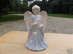 Blue and White Ceramic Angel Figurine with Gold Accents Candle Holder