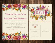 Fall & Fuchsia Florals Wedding Set Bold Bohemian by papernpeonies