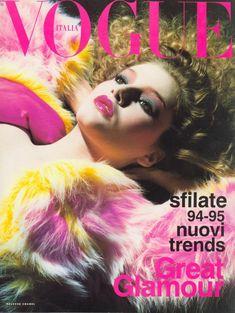 Bridget Hall for Vogue Italia, Vogue Magazine Covers, Fashion Magazine Cover, Fashion Cover, Vogue Covers, Vogue Uk, Vogue Fashion, 90s Fashion, Bridget Hall, Laetitia Casta