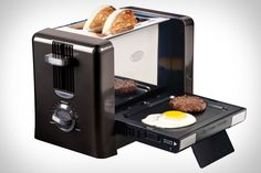 Flip-Down Breakfast Toaster.   The Frankenstein-esque Flip-Down Breakfast Toaster ($TBA) takes all the hassle out of cooking a great breakfast sandwich, so you can stop resorting to greasy fast or frozen food. The top portion functions like a typical toaster, with room for two pieces of bread, a bagel, or an english muffin