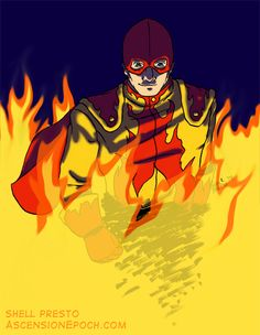 Public Domain superhero The Flame, by Shell Presto