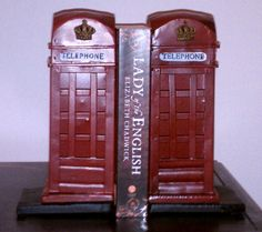 Phone booth book ends