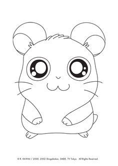 Illustration du petit hamtaro panda, à colorier
