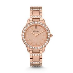 Fossil Jesse Three-Hand Ceramic Watch - White with Rose, CE1041| FOSSIL® Delicate