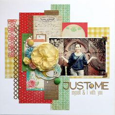 another layout with scraps and strips of paper and borders for the page background. #scrapbooking #layout